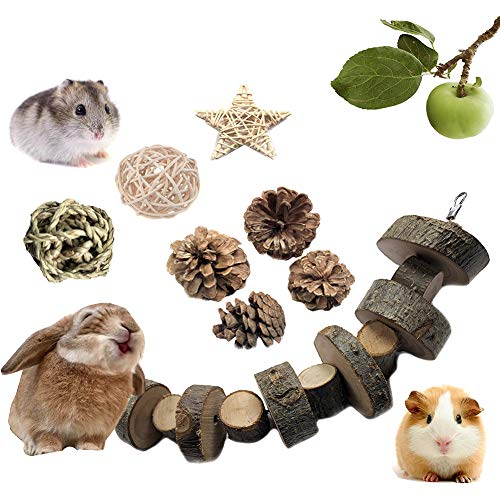 VCZONE Rabbit Chew Toys, Pet Bunny Tooth Chew Toys Organic Natural Apple Wood Grass Cake