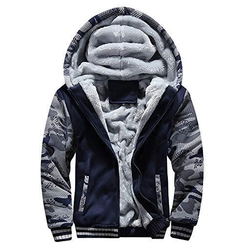 Affordable jin&Co Fleece Jacket Men Long Sleeve Zip Shaggy Shearing Warm Casual Hoodies Sport Jacket Outercoat with Pockets Blue