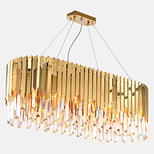 RTYUIO Lámpara de araña de Cristal de Lujo, lámpara de Techo Rectangular Moderna de Lujo E14 Lámpara Colgante LED Ajustable para Sala de Estar Comedor-Dorado 90x32cm (Dorado 90x32cm)