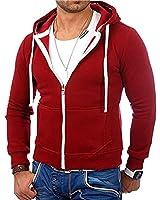 Mens Fashion Full-Zip Fleece Hoodies- Solid Color Zip up Hoodie Sweatshirts Sports Jackets Red
