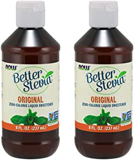 NOW Foods Better Stevia Original Liquid Extract, 8 Ounce Bottle (Pack of 2)