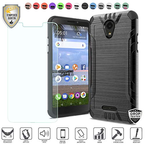 MyFavCell Compatible for Alcatel Insight Case, Alcatel TCL A1 4G Case 5' A501DL Case, with [Tempered Glass Screen Protector], Premium Metallic Brushed Hybrid [Shock Proof] Cover Case (Black)