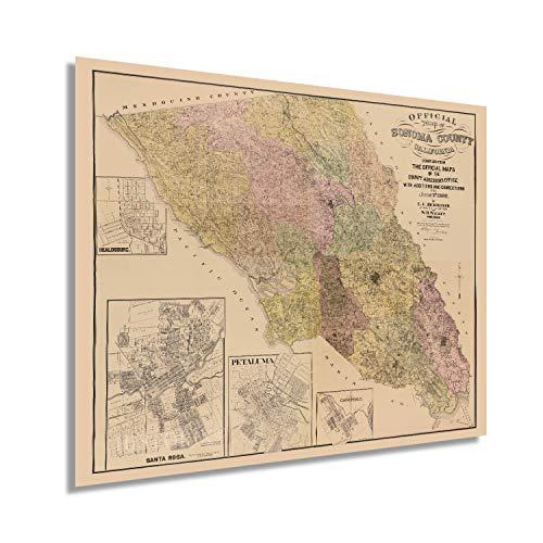 HISTORIX Vintage 1900 Sonoma Map - 24x30 Inch Vintage Sonoma County California Map- Old Sonoma County Wall Art - Map of Sonoma County CA with Healdsburg Santa Rosa Petaluma Cloverdale Insets (2 Sizes)