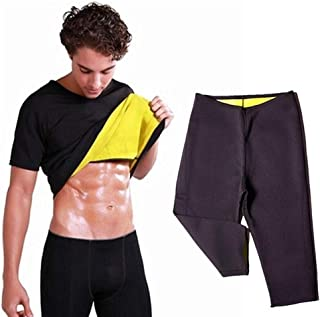 Men's Thermal Body Shaper Slimming Shirt With Compression Slimming Pants New Neoprene Sweat Sauna Waist Trainer Corset Sha...