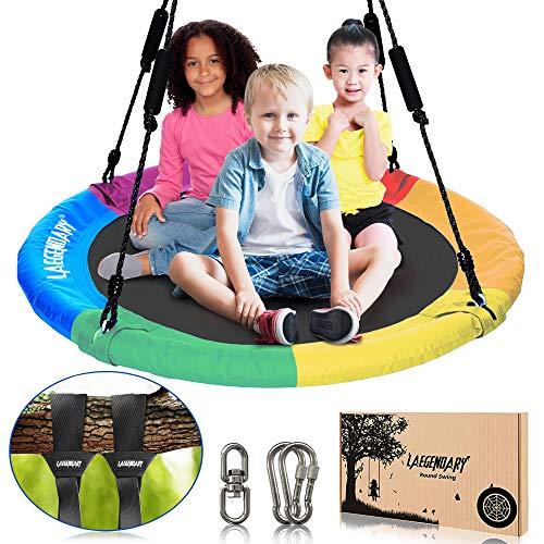 40 Inch Flying Saucer Tree Swing for Kids  Round Indoor Outdoor Swingset Toys  700 Lbs Sensory Web Tire Swings  Durable Frame Waterproof Yard Swings Set  2 Tree Straps 2 Carabiners 1 Swivel