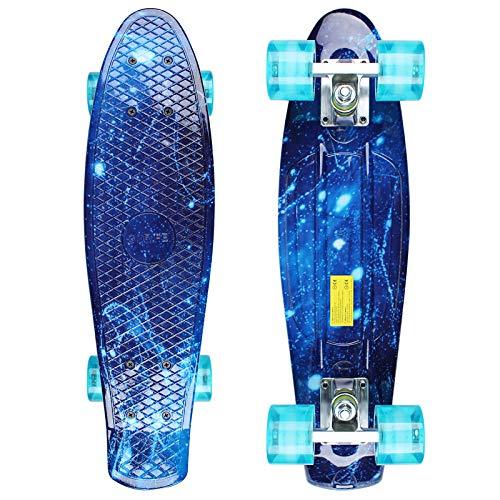 GORIFEI 22'55 cm Mini Cruiser Skateboard Retro Tavola Completa Altamente Flessibile per Bambini Ragazzi Giovani Principianti (Blu)