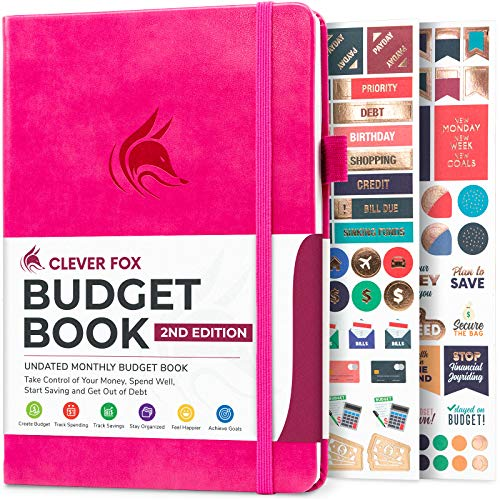 Clever Fox Budget Book 20 - Financial Planner Organizer Expense Tracker Notebook Money Planner for Monthly Budgeting and Personal Finance Colored Edition Compact Size 53 x 77 - Hot Pink