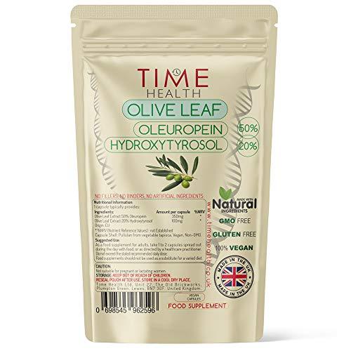 Olive Leaf Extract - Maximum Strength - Oleuropein 50% - Hydroxytyrosol 20% - Zero Additives - UK Manufactured - Pullulan (60 Capsule Pouch)