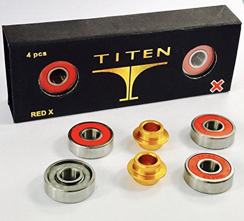 Titen Red X Stunt Scooter Bearing Set ABEC 9 Rodamientos 4x608 2rs (8x22x7) + 2 espaciadores + pegatinas Fantic26