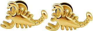 Surgical Stainless Steel Scorpions Fake Plug Earrings Mens Women Skull Chain ear studs