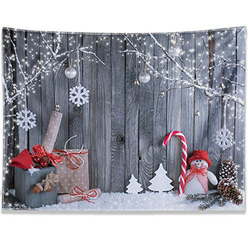 Allenjoy 5x7ft Christmas Holiday Snowflake Backdrop for Photography Pictures Decoration Winter Frozen Snow Wood Background Newborn Baby Children Family Portrait Photo Studio Booth Props Supplies