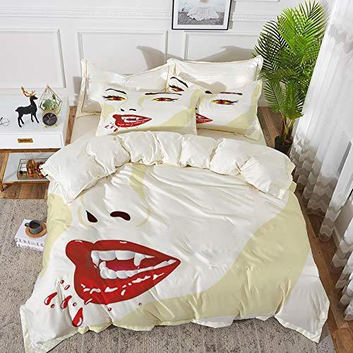bedding - Duvet Cover Set ,Vampire,Vamp Face Vivid Design Bloodthirst Expression Scary Sexy Undead Monster Demonic,Hypoallergenic Microfibre Duvet Cover Set 200 x 200cm with 2 Pillowcase 50 X 80cm
