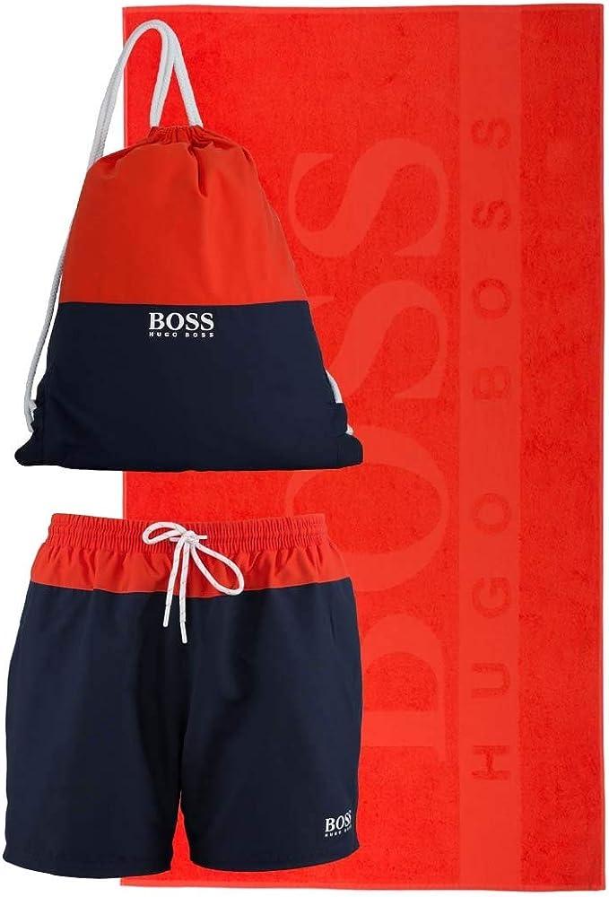 Hugo boss,set da spiaggia, asciugamano, costume da bagno, zainoblu e arancione ,100% poliestere 93770