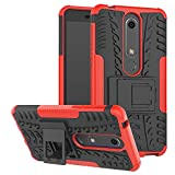 Phone Case for Nokia 6.1 / Nokia 6 2018 with Stand Kickstand Hard Rugged Heavy Duty Hybrid Protective Cell Accessories Nokia6.1 TA-1045 Cases Women Men Red