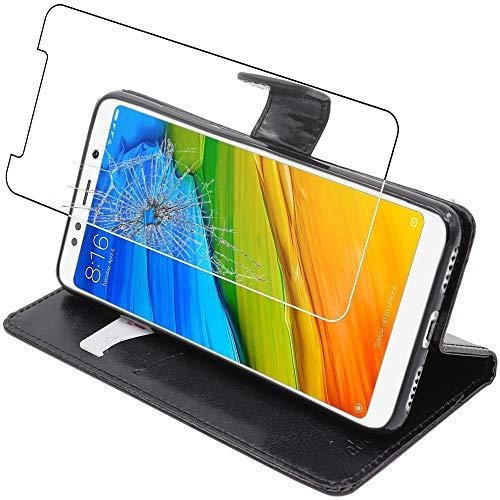 ebestStar - Funda Compatible con Xiaomi Redmi 5 Carcasa Cartera Cuero PU, Funda Billetera Ranuras Tarjeta, Función Soporte, Negro +Cristal Templado Pantalla [Aparato: 151.8 x 72.8 x 7.7mm, 5.7