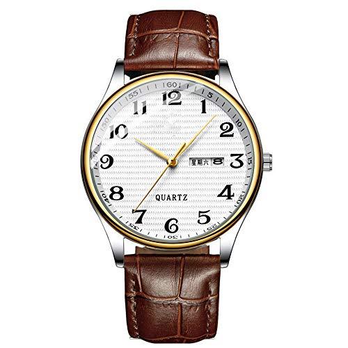 Hongxiguan herenhorloges merk roestvrij stalen horloge datum week waterdicht heren kwartshorloge business male Diamond Clock