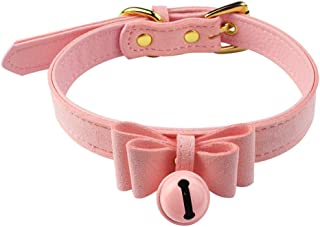 Nydotd Pink Bell Choker Adjustable Collar Necklace Lolita Bow Collar Velvet Cat Cosplay Kitty PU Leather Choker with Bell ...