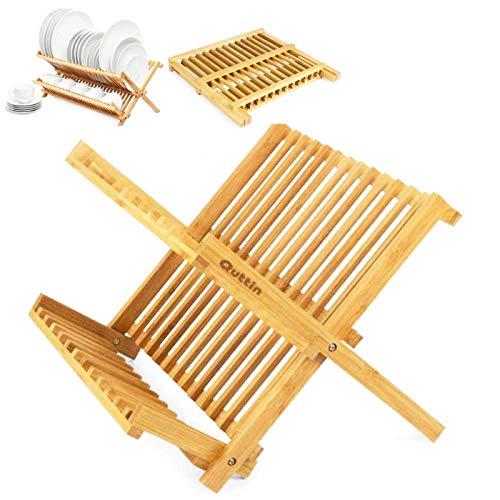Acan Escurreplatos de bambú 42 x 27 x 33 cm, Escurridor de Platos de bambú, Organizador de Cubiertos,Accesorios de Cocina