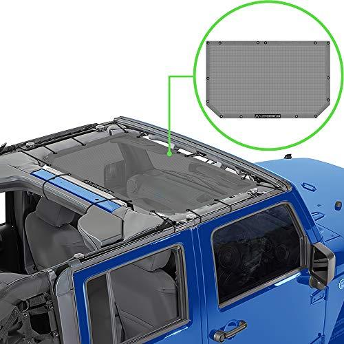 Alien Sunshade Jeep Wrangler JK & JKU (2007-2018) – Front Mesh Sun Shade for Jeep JK Unlimited - Blocks UV, Wind, Noise - Bikini Jkini Top Cover for Sport, Sport S, Sahara, Rubicon (Gray)