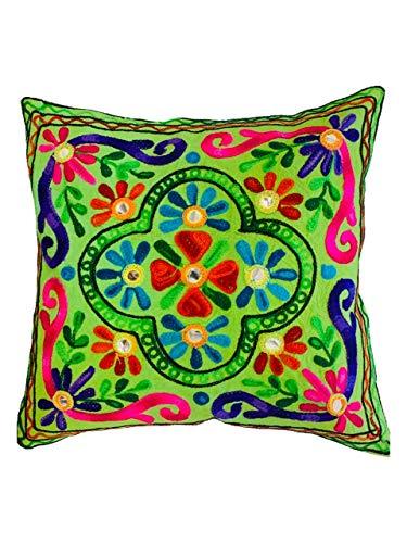 Original Kikan Suzani Multi Colour Embroidery - 16'x16' 40x40cm Indian Ethnic Cushion Covers (Green)