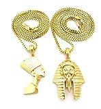 Shiny Jewelers USA Mens Egyptian Gold Nefertiti Eye of Horus ANKH Cross King TUT Hip HOP Pendant Box Chain Necklace Set (Nefertiti & King TUT 24'+27' Set)