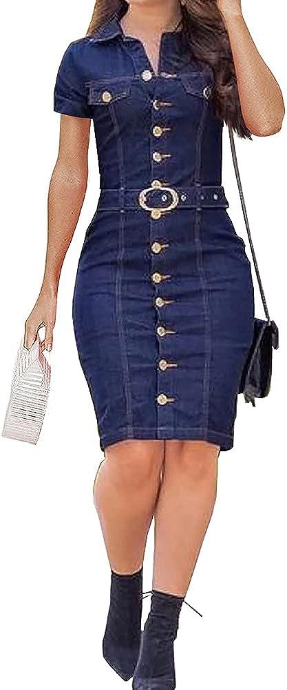 BZB Women's Long Sleeve Buttoned Denim Dress Lapel Knee-Length Retro Denim Dress