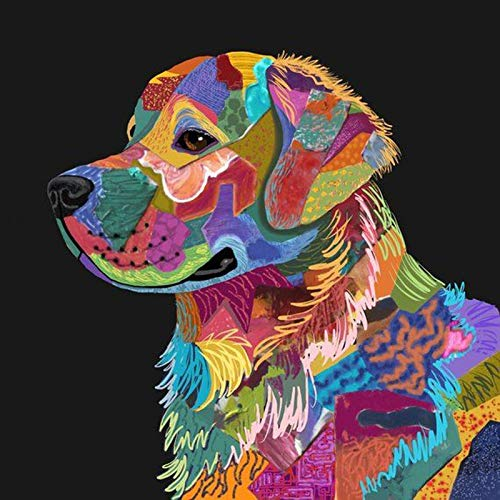 5D DIY Diamond Painting Kits Full Round Drill Diamond Painting Wall Decor Rhinestone Embroidery Colorful Dog 11.8x11.8 in by Greatminer