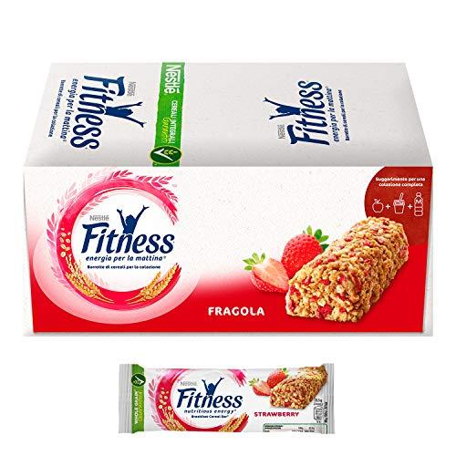 FITNESS Fragola Barretta di Cereali al Gusto Fragola, 24 Pezzi