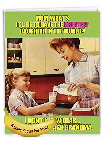 NobleWorks, Ask Grandma - Funny Jumbo Mother�s Day Card (8.5 x 11 Inch) - Vintage, Retro Notecard for Mom, Grandma - From Daughter J0222 Photo #6