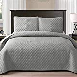 Exclusivo Mezcla Ultrasonic 3 Piece Full/Queen Size Quilt Set with Pillow Shams, Lightweight Bedspread/ Coverlet/ Bed Cover - (Light Grey, 92'x88')