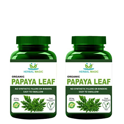 Organic Papaya Leaf Powder Capsules 60 x 500 mg Full Spectrum.
