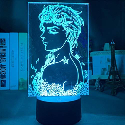 Luz nocturna 3D ilusión óptica 3D JoJo's Bizarre Adventure 16 colores que cambian de acrílico LED luz nocturna para niños y niñas como en cumpleaños o vacaciones