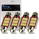 Safego 4X C5W LED 36mm 12 SMD 4014 6411 6418 1.5' DC 12V 3W Bombilla Festoon Interior del Coche Xenón Blanco 6000k