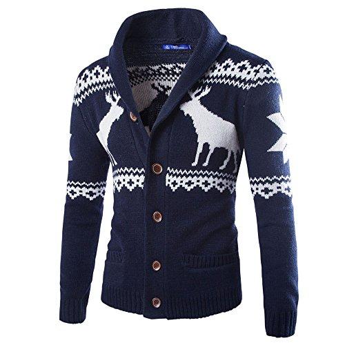 Ningsun Uomo Inverno Natale Maglione Cardigan Natale Maglieria Cappotto Giacca Felpa,Casual Giacca Moda Uomo Autunno Bottone Cappotto Manica Lunga Caldo Maglione Top