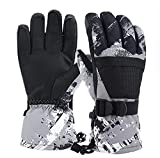 Winter Ski Gloves,Children's Touchscreen Snow Mittens Snowboard Waterproof Lined Long Cuff Leather Kids Gloves for Boys & Girls Sports Outdoor Play