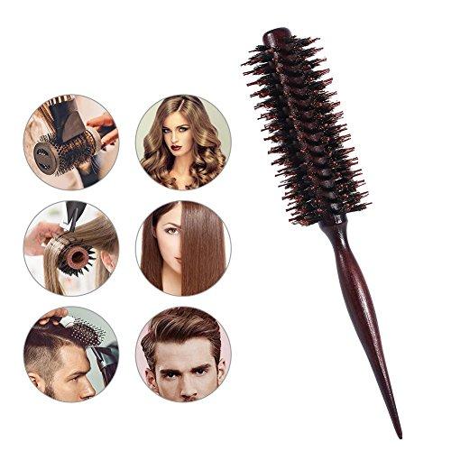 Yotown Poignée en Bois Professionnel Anti-Statique Cheveux Bouclés Peigne Coiffure Ronde Brosse Ronde (café)