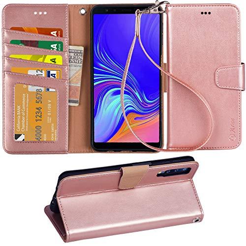 Arae Samsung Galaxy A7 2018 Hülle, Handyhülle Samsung Galaxy A7 2018 Tasche Leder Flip Cover Brieftasche Etui Schutzhülle für Samsung Galaxy A7 2018 (Roségold)
