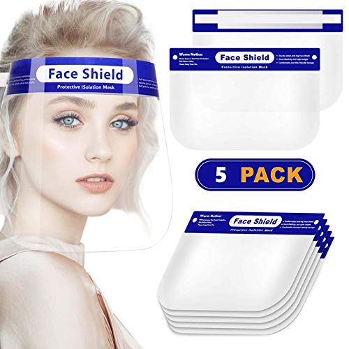 Face Shield 5 Pack, Safety Face Shields Mask with Visor, Reusable Protective Face Shield for Youth, Teen and Adult, Clear Full Face Mask Shield with Elastic Band and Sponge to Protect Eyes and Face