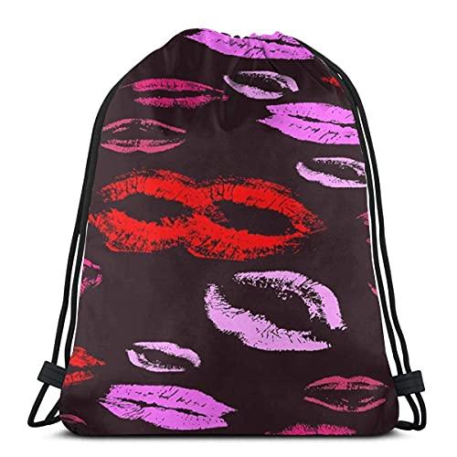 Lmtt Bolsas con cordón para mujer, mochila con beso de labios, bolsas con cuerdas para tirar, almacenamiento deportivo a granel, gimnasio para niños, mochila de viaje al aire libre, talla única