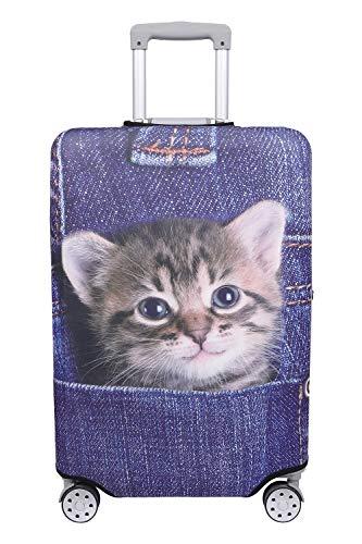 【こもれび屋】スーツケース 保護 カバー かわいい イヌ ネコ デニム トランクケース キャリーケース 伸縮 旅行 OD13 (猫・トラ(インディゴ), L)