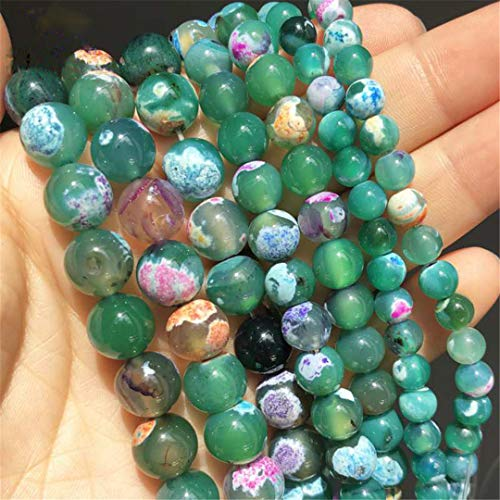 Caviland Natural Stone Green Fire Agates Onyx Beads Round Loose Beads For Jewelry Making DIY Bracelet Necklace Accessories 6/8/10Mm 15'' 10mm (approx 36pcs)