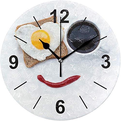 L.Fenn Wandklok rond eten brood hart koffiemok ontbijt diameter Silent Decoratief voor home kantoor keuken slaapkamer