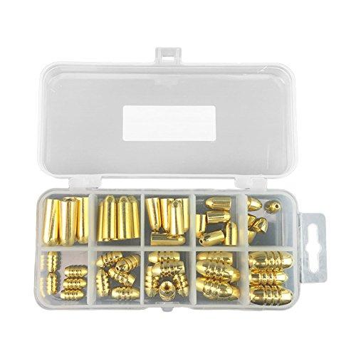 ZREAL 50 Pcs 1.8 / 3.5 / 5/7 / 10g Pêche Poids Assorties Bullet Forme Cuivre Plomb Sinker Kit Tackle Sinkers avec Boîte