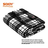 Sojoy 12V Heated Smart Multifunctional Travel Electric Blanket for Car, Truck, Boats or RV with High/Low Temp Control (60'x 40') (Checkered Black & White)
