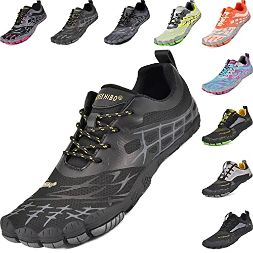 JACKSHIBO Zapatos descalzos para mujer y hombre, de secado rápido, antideslizantes, para baño, trail o fitness, tallas 36-48, color Negro, talla 41 EU