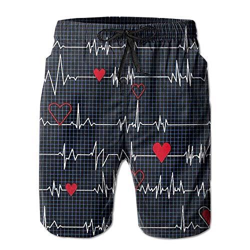 XIAOYI Swim Trunks Summer Calling All Nurses Heart Beat Beach Shorts Pockets Boardshorts for Men - L