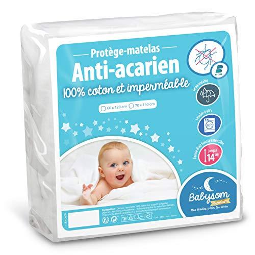 Babysom - Protège Matelas Bébé Anti-acarien - 60x120 cm   Alèse imperméable Souple et Silencieuse   Bouclette 100% Coton : Doux et Absorbant   Oeko-Tex®