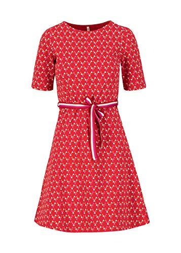 Blutsgeschwister Kleid so frei Dress Minikleid kurz Sommerkleid Rundhals Gürtel (Rot, xx_l)
