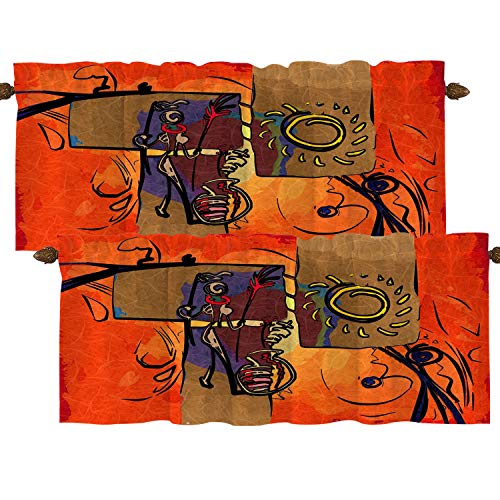 BaoNews African Ethnic Retro Kitchen Valances Half Window Curtain, Africa African Motive Ethnic Retro Vintage Oil Landscape Blackout Decoration Window Valances Curtains Drapes for Kitchen Bedroom