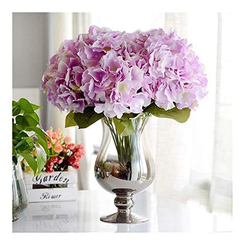 BGDRR Flor Artificial for decoración 5 Cabezas Hortensia de Seda for Boda decoración de Fiesta en casa Flores Falsas Ramo Grande (Color : Light Purple)